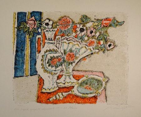 リトグラフ Carigiet - (Zwei Vasen mit Rosen