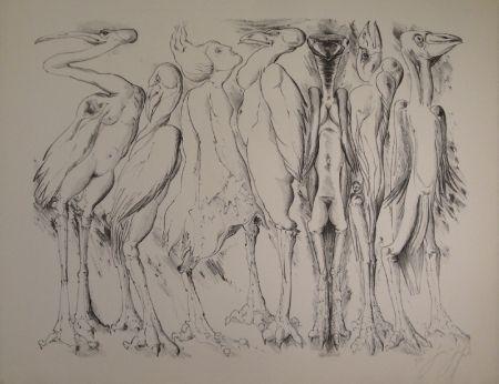 リトグラフ Grass - Zwischen den Vögeln